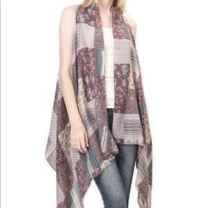 Accessories - Purple Long Patchwork Waterfall Scarf Vest Shawl